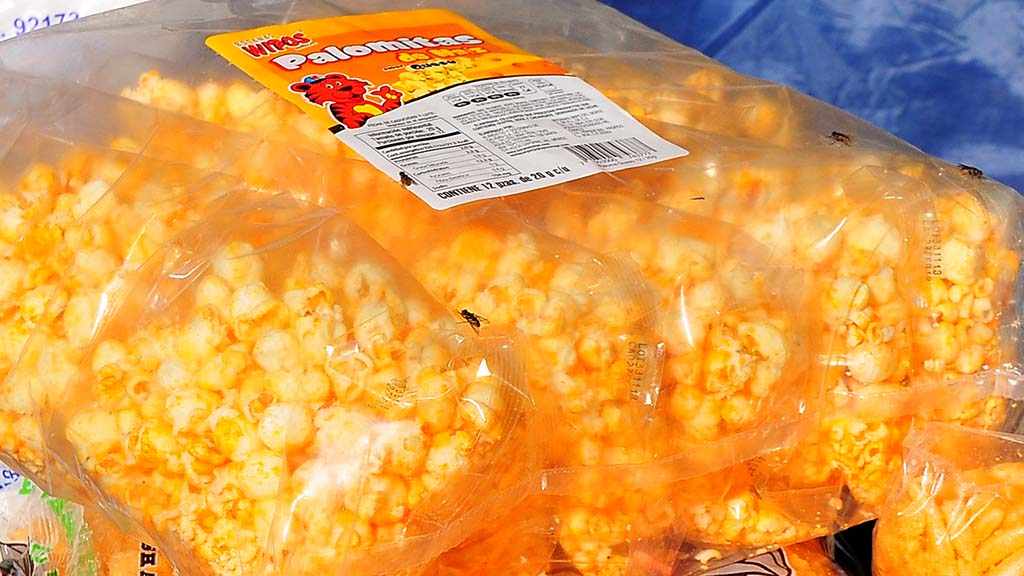 Cheese popcorn is among the food items within tent areas.