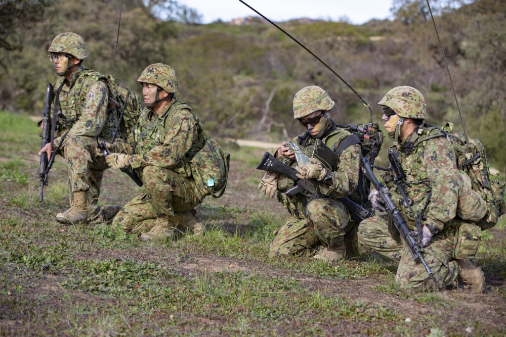 Japanese Soldiers, U S  Marines Train Together at Camp