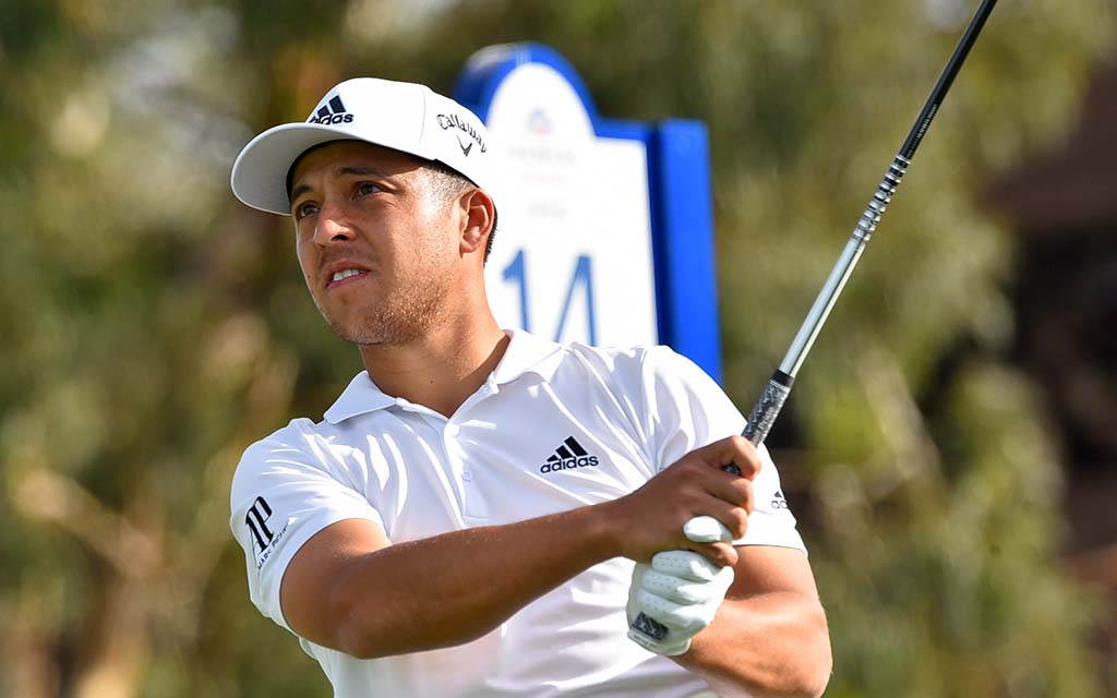Xander Schauffele of San Diego watches his drive on the South Course 14th hole.