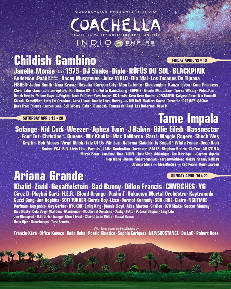 Coachella 2019 lineup.