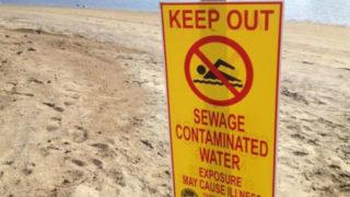 A beach closure sign in Imperial Beach.