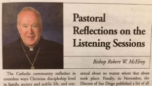 Bishop McElroy's statement in response to listening sessions.