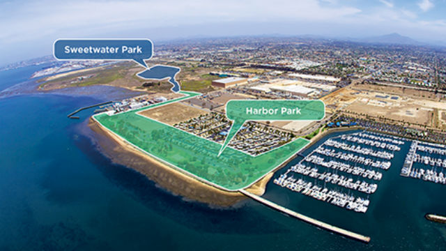 Aerial photo shows location of Harbor and Sweetwater parks