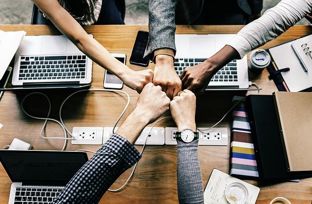 A diverse office team