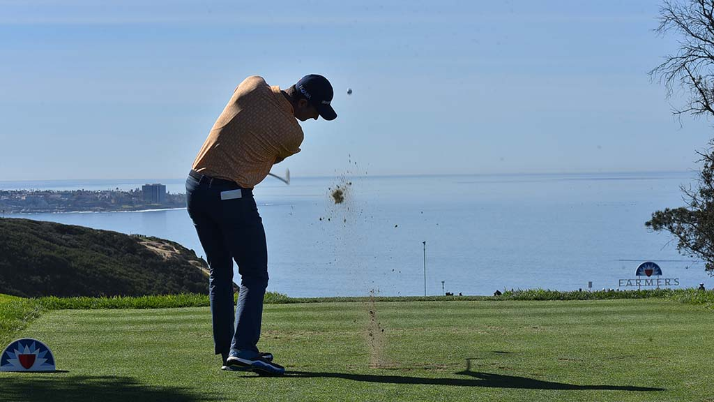Justin Rose tees off a the 3rd hole of the south course of the Farmers Insurance Open in La Jolla.