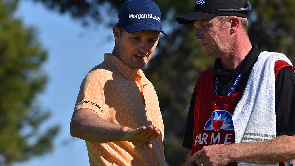 Justin Rose discusses the contours of a hole at the Farmers Insurance Open in La Jolla.