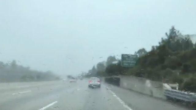 Rain on a San Diego freeway