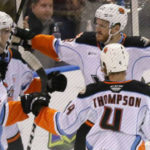 San Diego Gulls players celebrate victory over Stockton