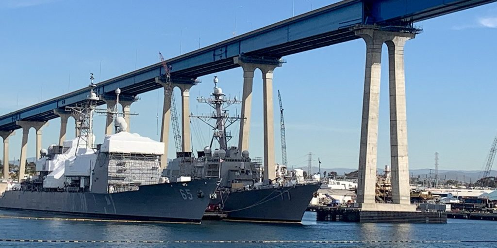 The USS Chosin and USS O'Kane sat unguarded at the HII San Diego Shipyard during two passes on Jan. 24, 2019.