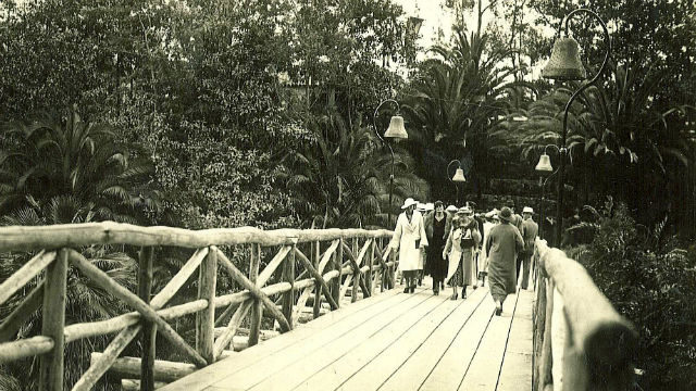 Historic photo of Honeymoon Bridge over Palm Canyon in Balboa Park