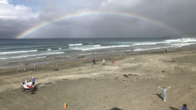 A rainbow over La Jolla Shores Beach