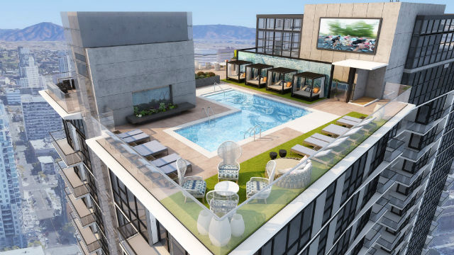 220 unit luxury high rise apartment tower opens in little italy times of san diego - Apartment buildings san diego ...