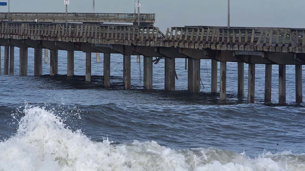 The Ocean Beach Pier sustained damage to the railing on the north and south sides.