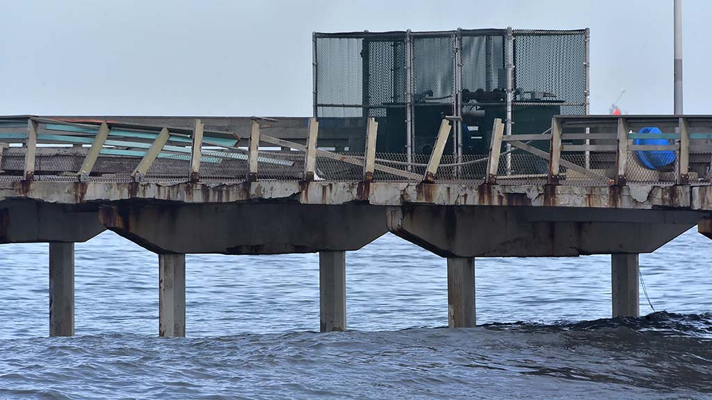The Ocean Beach Pier sustained damage to the north and south sides of the pier.