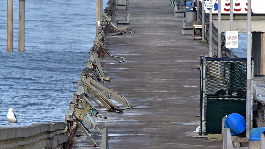 The Ocean Beach Pier continues to be closed after damage to the railing during a storm.