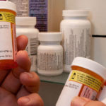 Prescription drugs in a medicine cabinet