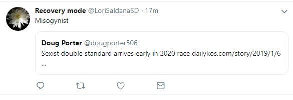 Deleted tweet by Lori Saldana saved as a screen shot by Doug Porter.
