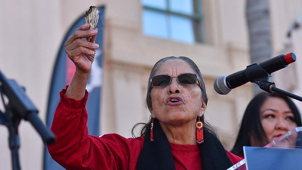 Virginia Christman, an elder of the Kumeyaay Native American tribe, gave a blessing at the beginning of the rally.
