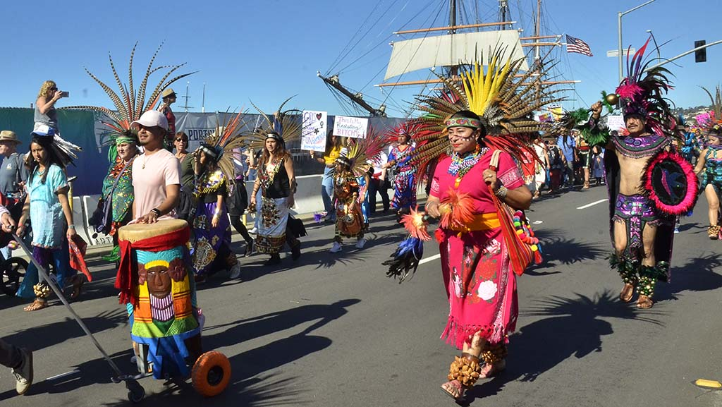 Members of the Kumeyaay Native American tribe led the Women's March San Diego.
