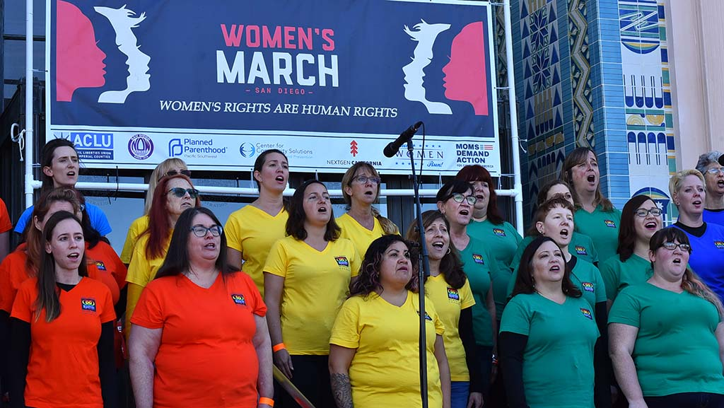 Members of the San Diego Women's Chorus perform at the Women's March San Diego.