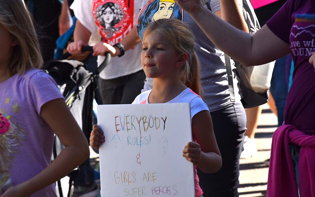 Children joined their family members during the third annual San Diego Women's March in the harbor area.