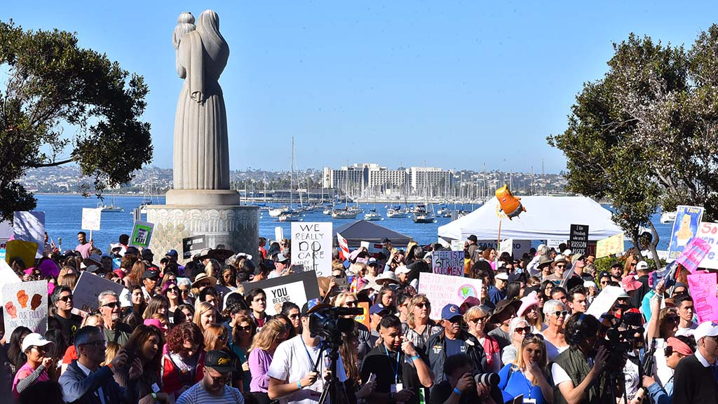 About 10,000 marchers gathered at the county administration building before proceeding down Harbor Boulevard.
