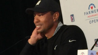 Tiger Woods at a press conference on Tuesday