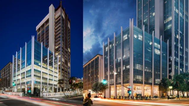 Renovation of the tower's annex and a rendering (right) of the completed modernization.