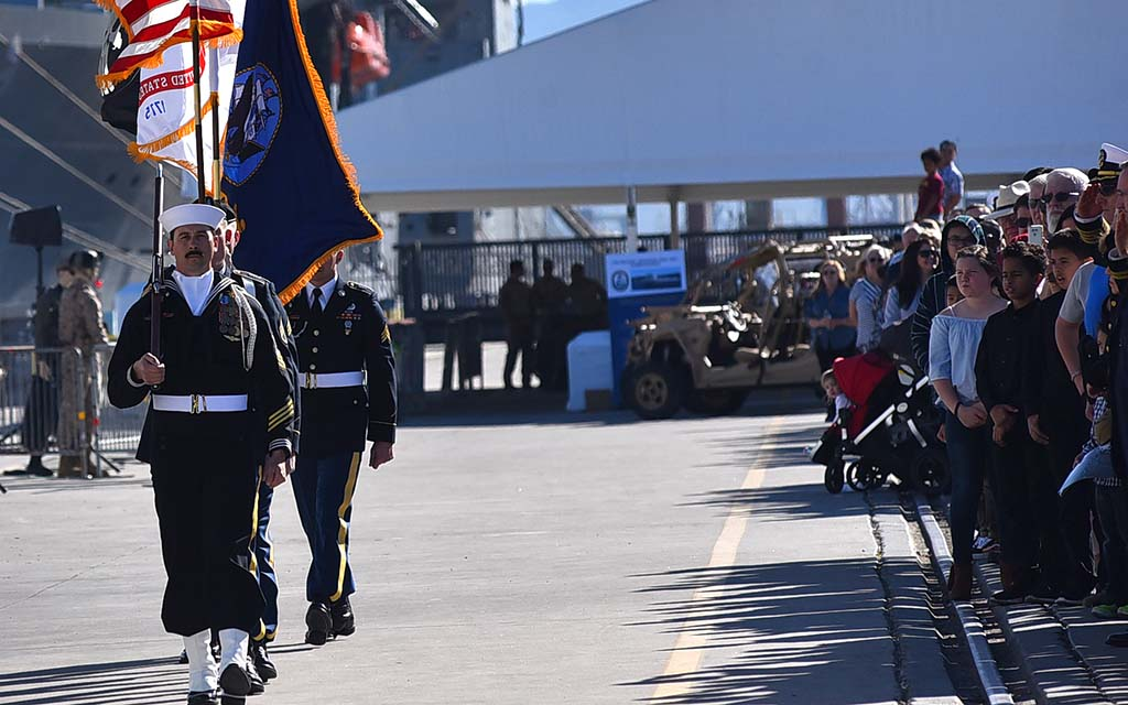 1/506 Regiment, USS Michael Monsoor and SEAL Team Three advance the colors in the ceremony on Coronado.