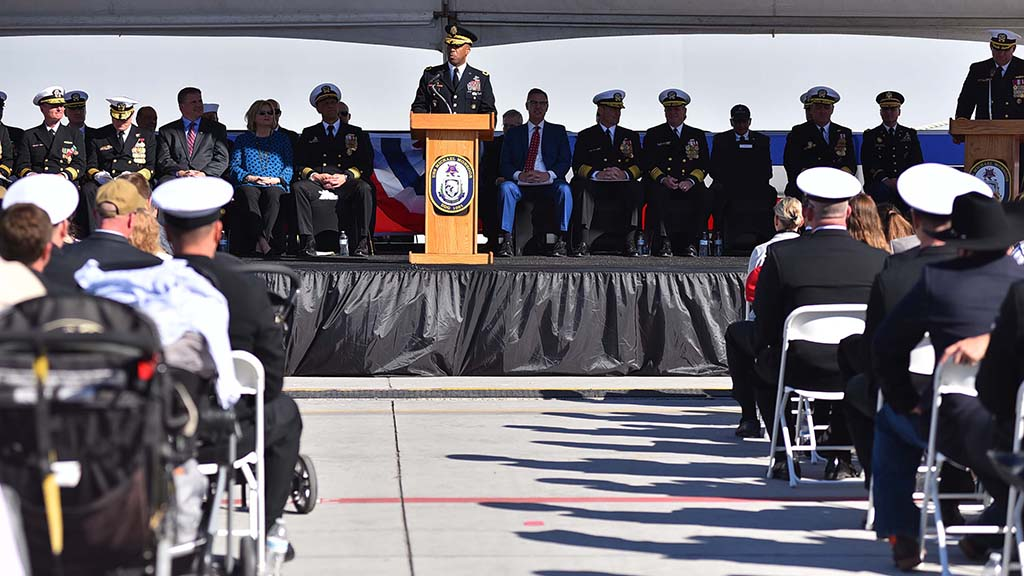 Maj. Gen. Ronald Clark was among the officers who spoke at the commissioning of the USS Michael Monsoor, the newest ship in the Navy.