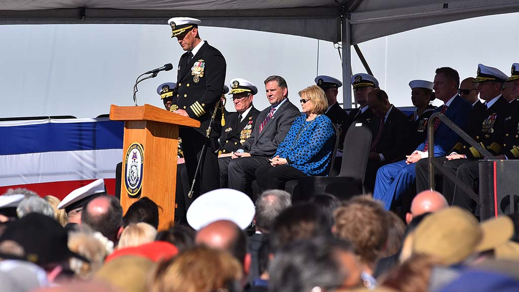 Capt. Scott Smith, commanding officer of the USS Michael Monsoor, speaks about the attributes of the namesake of the ship.
