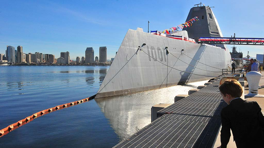 The newest ship in the Navy, the USS Michael Monsoor, sits in San Diego Bay at North Island Naval Air Station on Coronado.