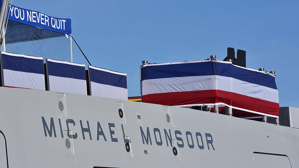 "The new ship with Michael Monsoor's creed of ""You Never Quit"" was commissioned on Jan. 26 in Coronado."