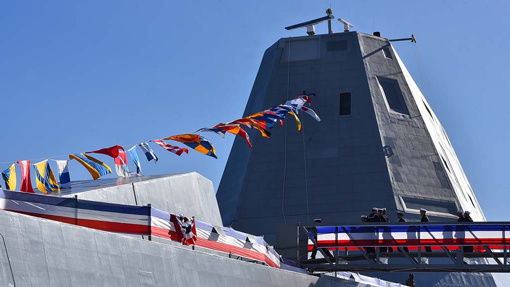 The futuristic-looking destroyer is the second in the Zumwalt class.