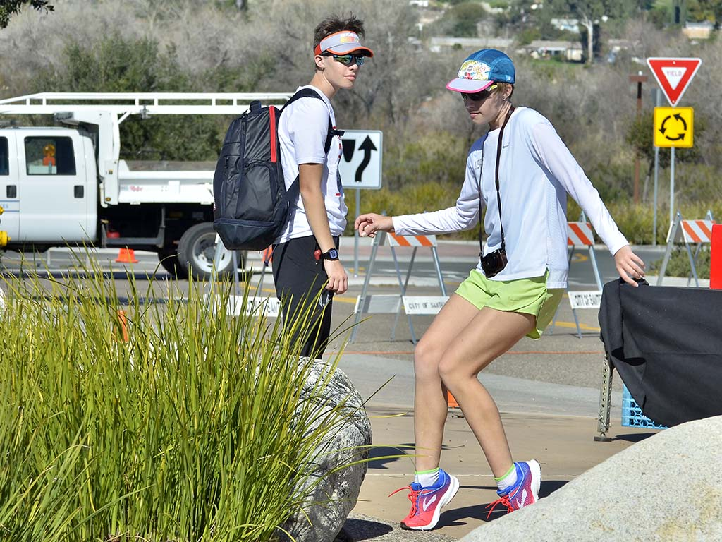 """Jessica Heiser-Whatley, whose father, Ian Whatley, took fourth in the U.S. men's 50K, dances to Michael Jackson's """"Thriller."""""""