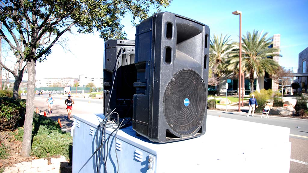 Large amplifiers were placed in eight locations along route to carry announcements and recorded music by Lennie Howell.