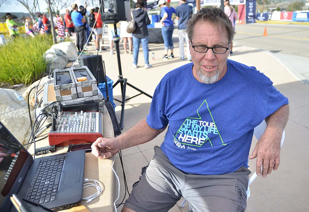 """DJ Lennie Howell of Ramona kept to theme, playing songs such as """"I'm Gonna Be (500 Miles)"""" by Scottish duo The Proclaimers. """"But I would walk 500 miles. And I would walk 500 more."""""""