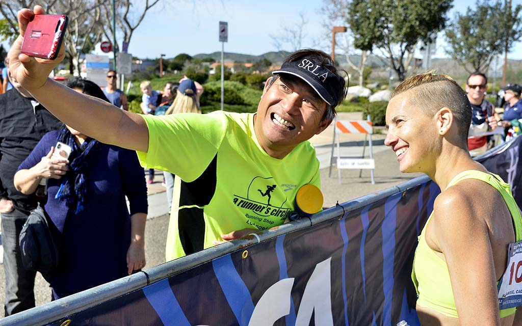 Claire Tallent of Australia poses for a selfie after qualifying for the IAAF world championships in the 50K race walk.