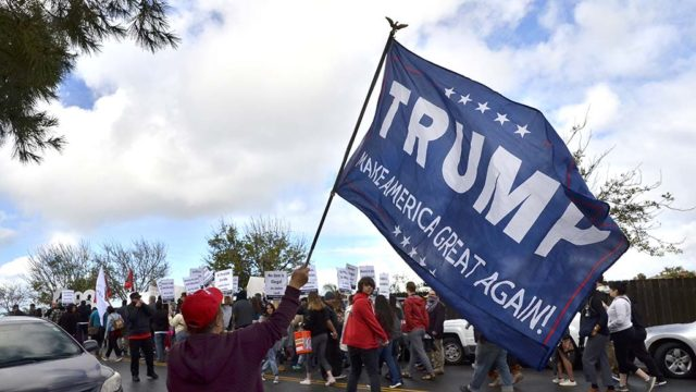 Counter protesters shouted pro-Trump support as protesters began their march down Athey Avenue in San Ysidro.