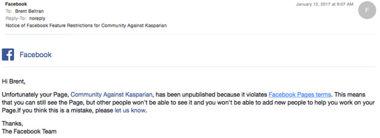 Brent Beltrán's first attempt at an anti-Kasparian Facebook page was rejected by Facebook. Image via Beltrán