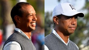 With five birdies and three bogeys, Tiger Woods had a rollercoaster day at Torrey Pines as shown in his expressions.