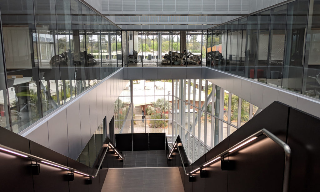 The inside of President Joi Lin Blake's future office suite is shown above a staircase in Palomar College's library on Feb. 5, 2019.