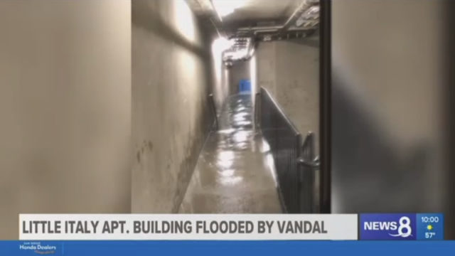 Water flowing in a hallway of the apartment building