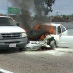 Burning car on I-805