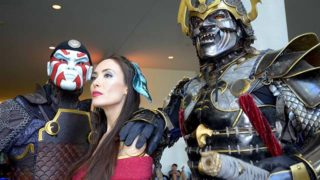 """Members of the cast of the movie """"The Sun Devil and the Princess"""" pose for photos at Comic-Con."""