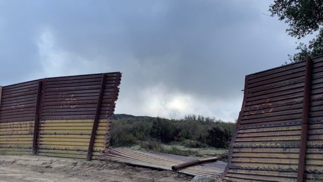 Broken border fencing in Campo
