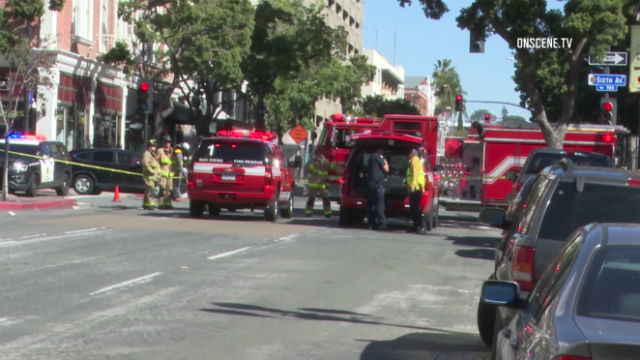 Police and fire vehicles at the scene of the gas leak