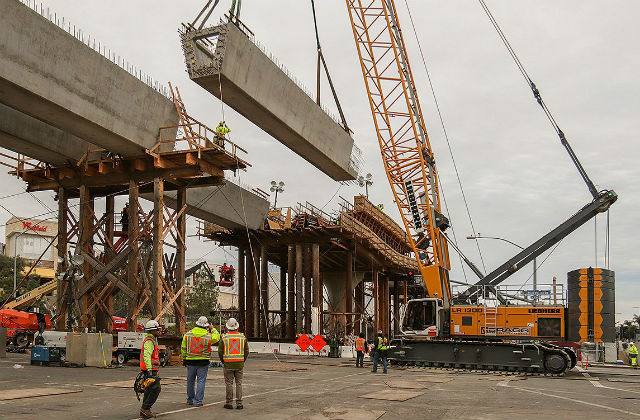 Girder lowered into place