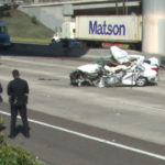 Wreckage of car on Interstate 5