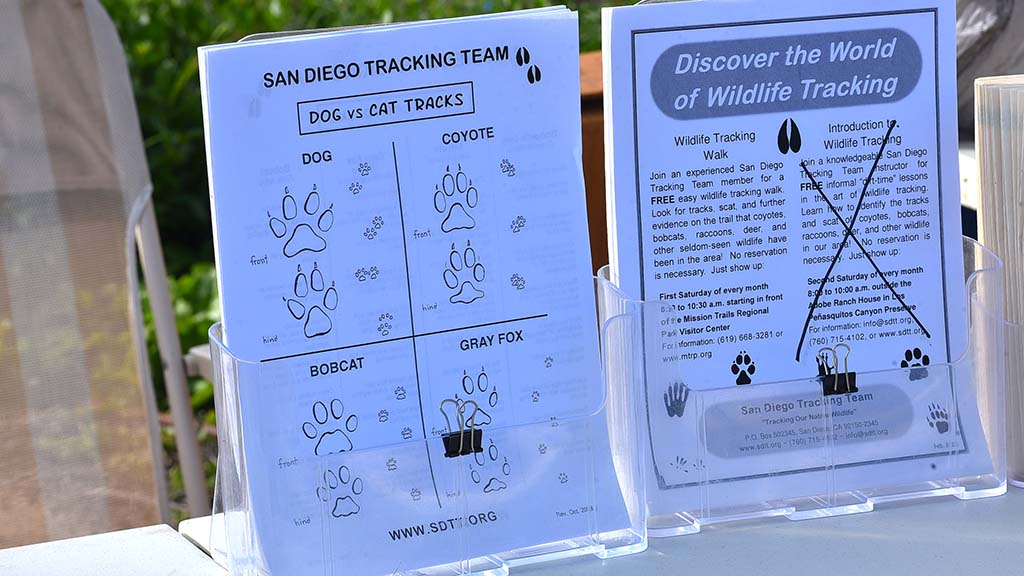 San Diego Tracking Team had a table at the reserve showing visitors the type of wildlife living in the area.